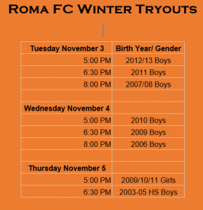 Winter 2020 Tryouts set for November 3rd - 5th